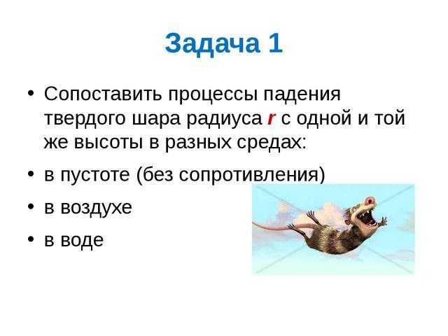 Задача 1 Сопоставить процессы падения твердого шара радиуса r с одной и той ж...