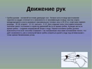Движение рук Гребок руками - основной источник движущих сил. Тяговая сила пло