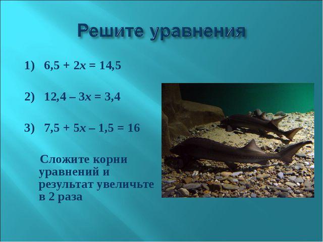 1)6,5 + 2х = 14,5 2)12,4 – 3х = 3,4 3)7,5 + 5х – 1,5 = 16 Сложите ко...