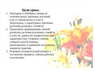 Цели урока: Повторить и обобщить знания об отличительных признаках растений к