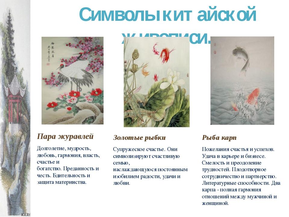 Символы китайской живописи. Рыба карп Пожелания счастья и успехов. Удача в ка...