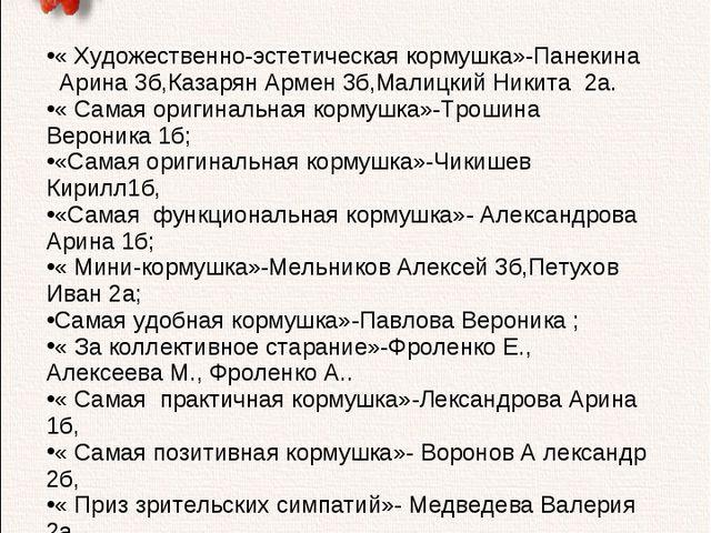 « Художественно-эстетическая кормушка»-Панекина Арина 3б,Казарян Армен 3б,Ма...