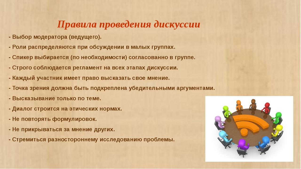 Правила проведения дискуссии - Выбор модератора (ведущего). - Роли распредел...