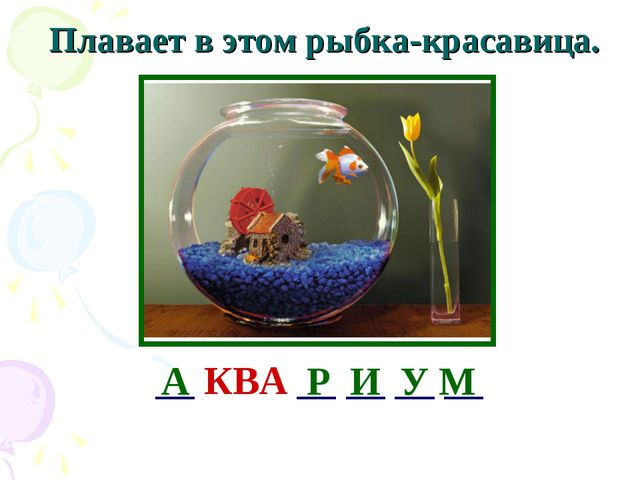 Плавает в этом рыбка-красавица. __ КВА __ __ __ __ А Р И У М