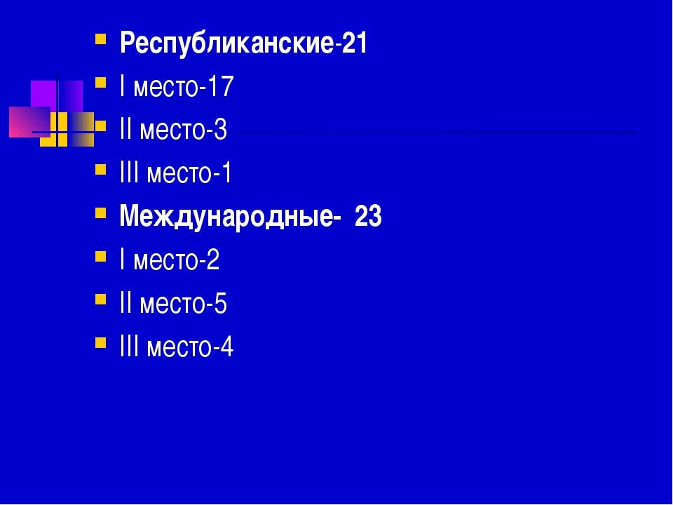 Республиканские-21 I место-17 II место-3 III место-1 Международные- 23 I мест...