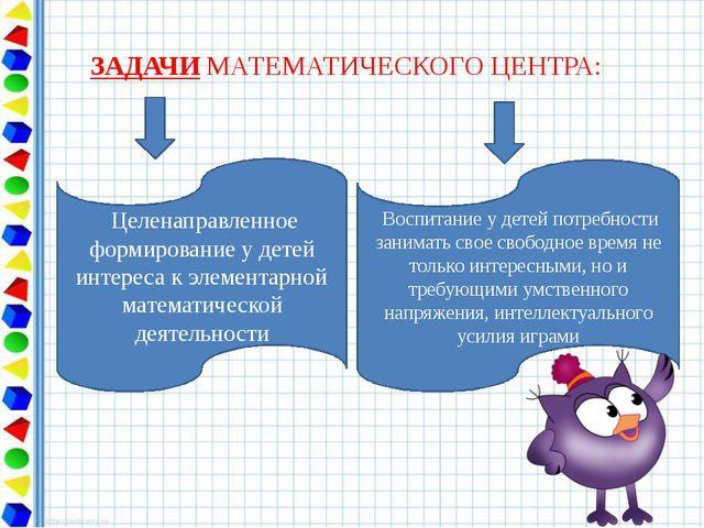 ЗАДАЧИ МАТЕМАТИЧЕСКОГО ЦЕНТРА: Целенаправленное формирование у детей интереса...
