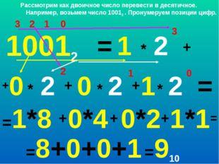 0 1 2 3 1 * 10012 1 0 +0 = 2 3 + * 2 2 + + * 2 1 * 2 0 = =1*8 + 0*4 + 0*2 + 1