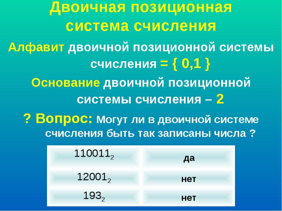 Двоичная позиционная система счисления Алфавит двоичной позиционной системы с...