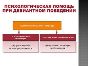 ПСИХОЛОГИЧЕСКАЯ ПОМОЩЬ ПСИХОЛОГИЧЕСКАЯ ИНТЕРВЕНЦИЯ преодоление, коррекция, ре