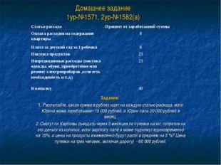 Домашнее задание 1ур-№1571, 2ур-№1582(а) Задания: 1. Рассчитайте, какая сумма