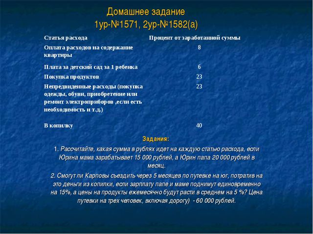Домашнее задание 1ур-№1571, 2ур-№1582(а) Задания: 1. Рассчитайте, какая сумма...