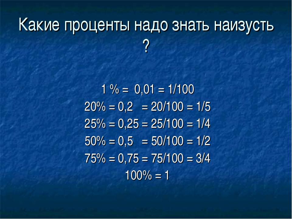 Какие проценты надо знать наизусть ? 1 % = 0,01 = 1/100 20% = 0,2 = 20/100 =...