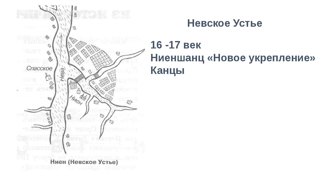 Невское Устье 16 -17 век Ниеншанц «Новое укрепление» Канцы