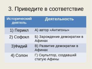 3. Приведите в соответствие Историческийдеятель Деятельность 1) Перикл А)авто