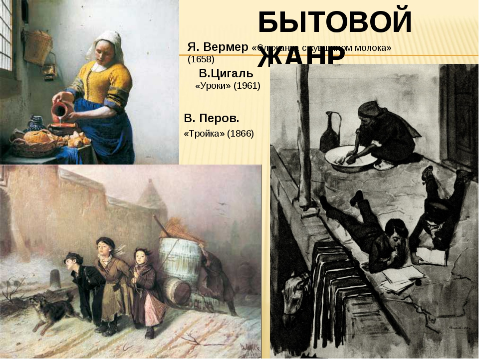 БЫТОВОЙ ЖАНР В. Перов. «Тройка» (1866) Я. Вермер «Служанка с кувшином молока...
