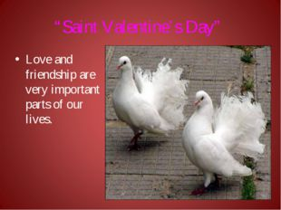 """""""Saint Valentine's Day"""" Love and friendship are very important parts of our l"""