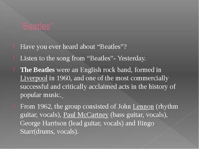 """""""Beatles"""" Have you ever heard about """"Beatles""""? Listen to the song from """"Beatl..."""