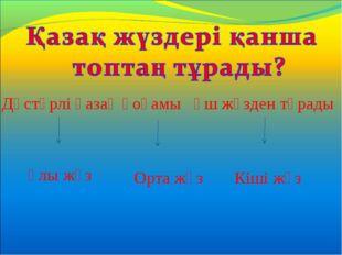 Дәстүрлі қазақ қоғамы үш жүзден тұрады Ұлы жүз Орта жүз Кіші жүз
