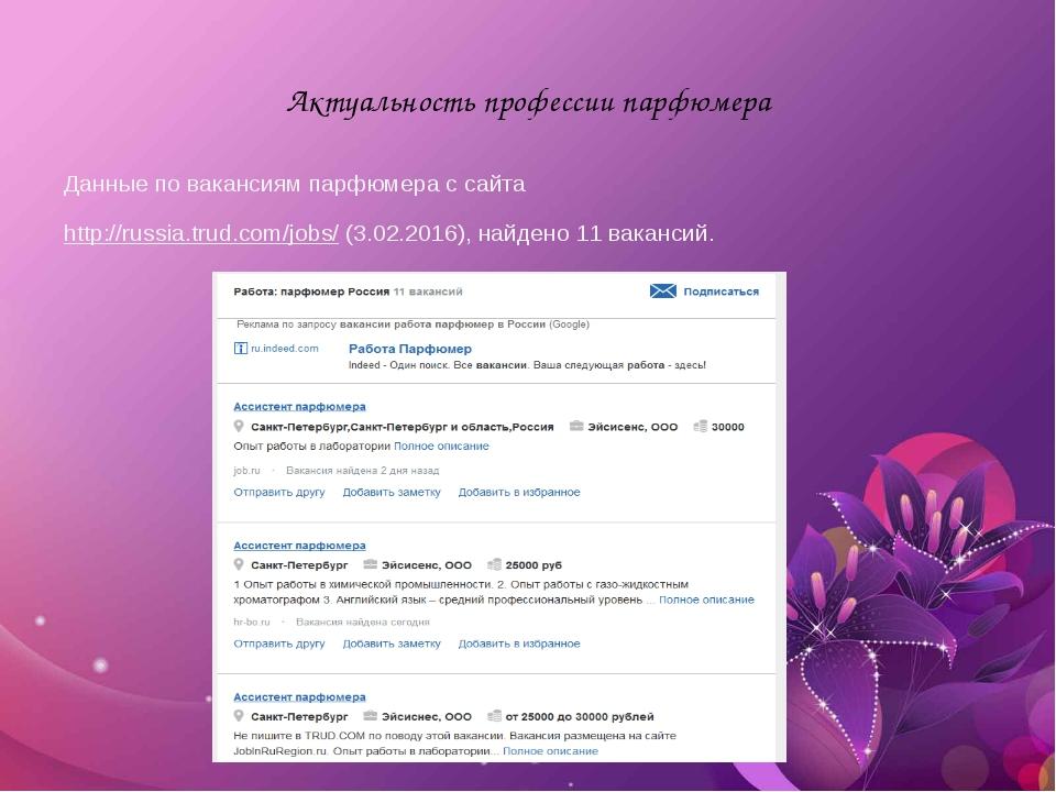 Актуальность профессии парфюмера Данные по вакансиям парфюмера с сайта http:...