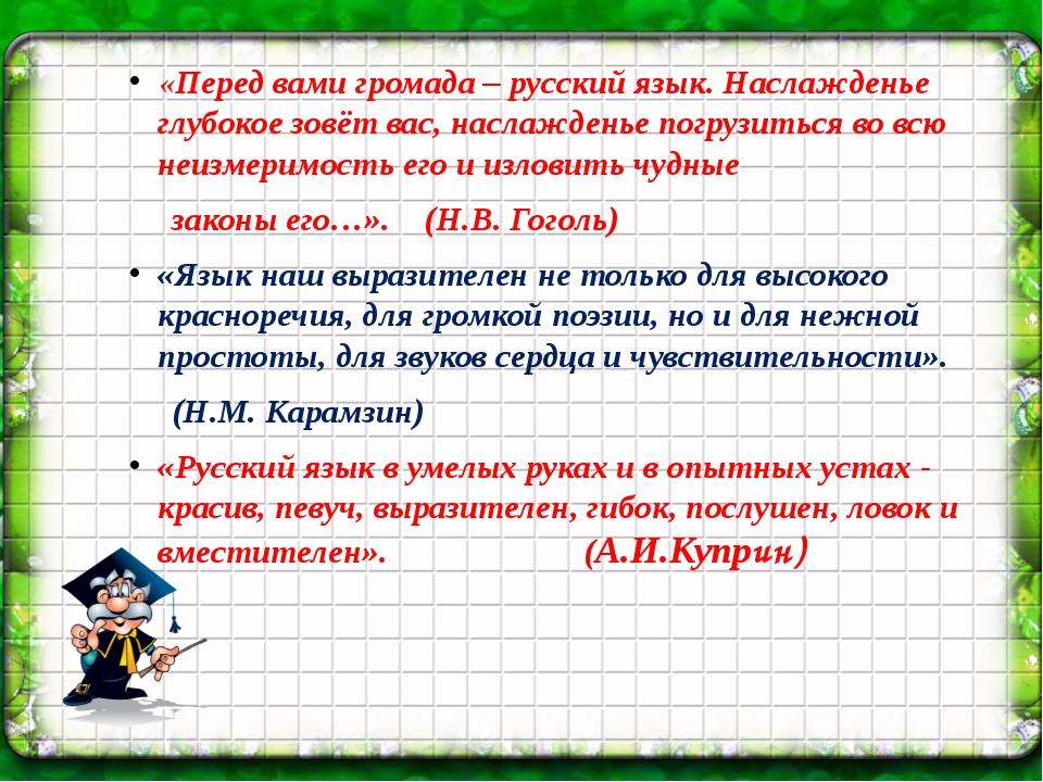 «Перед вами громада – русский язык. Наслажденье глубокое зовёт вас, наслажде...