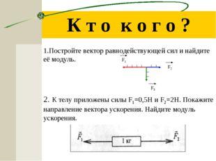 К т о к о г о ? 1.Постройте вектор равнодействующей сил и найдите её модуль.