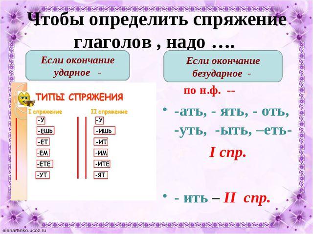 Чтобы определить спряжение глаголов , надо …. по н.ф. -- -ать, - ять, - оть,...