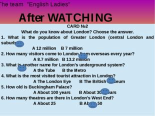 """After WATCHING The team """"English Ladies"""" CARD №2 What do you know about Londo"""