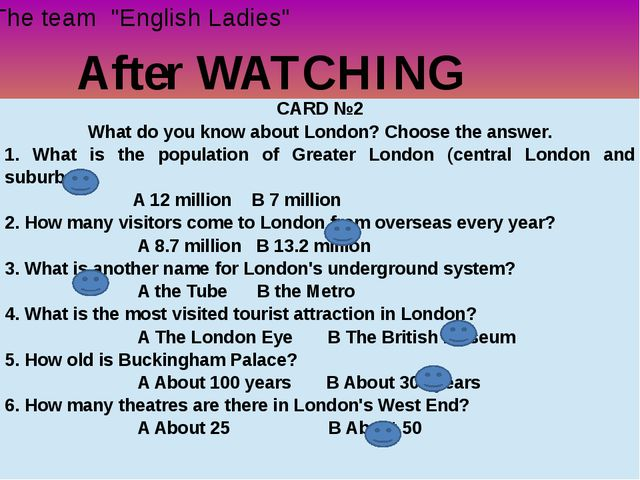 "After WATCHING The team ""English Ladies"" CARD №2 What do you know about Londo..."