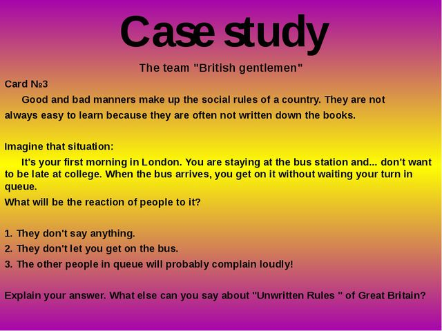 """The team """"British gentlemen"""" Card №3 Good and bad manners make up the social..."""