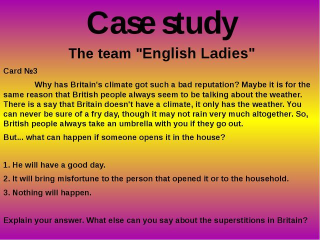 """The team """"English Ladies"""" Card №3 Why has Britain's climate got such a bad r..."""