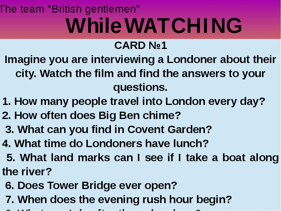 """While WATCHING The team """"British gentlemen"""" CARD №1 Imagine you are interview..."""