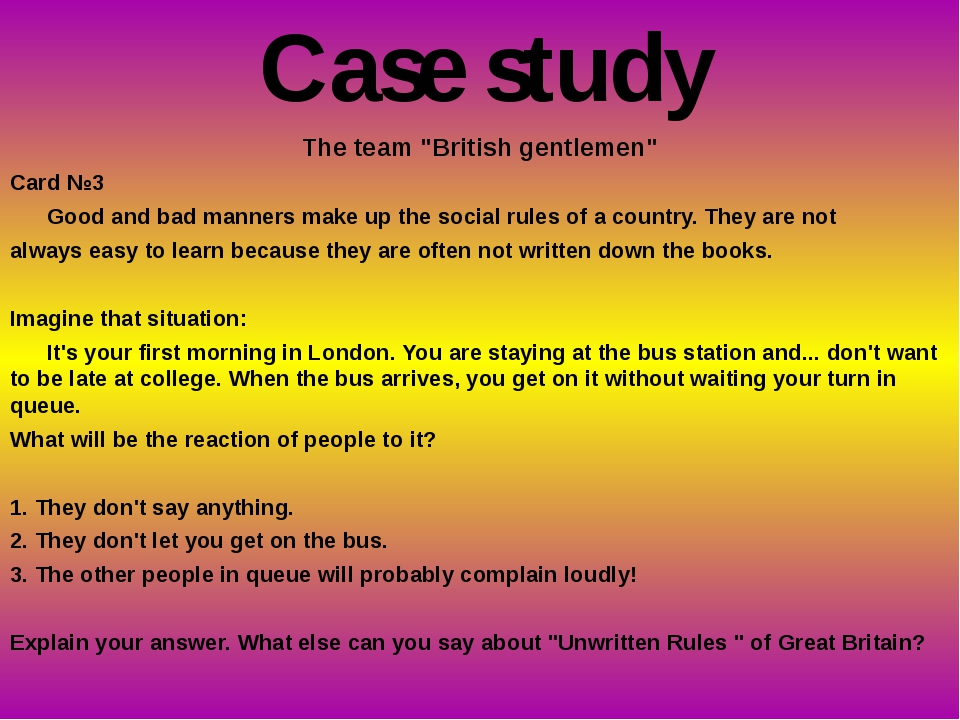 "The team ""British gentlemen"" Card №3 Good and bad manners make up the social..."