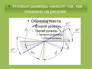 Угловые размеры наносят так, как показано на рисунке