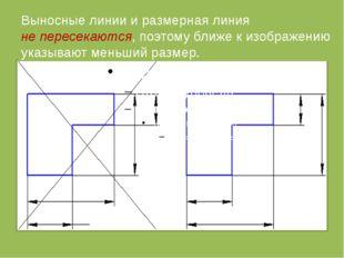 Выносные линии и размерная линия не пересекаются, поэтому ближе к изображени