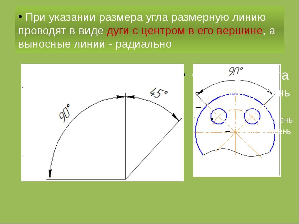 При указании размера угла размерную линию проводят в виде дуги с центром в е...