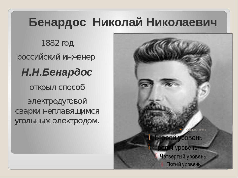 Бенардос Николай Николаевич 1882 год российский инженер Н.Н.Бенардос открыл с...