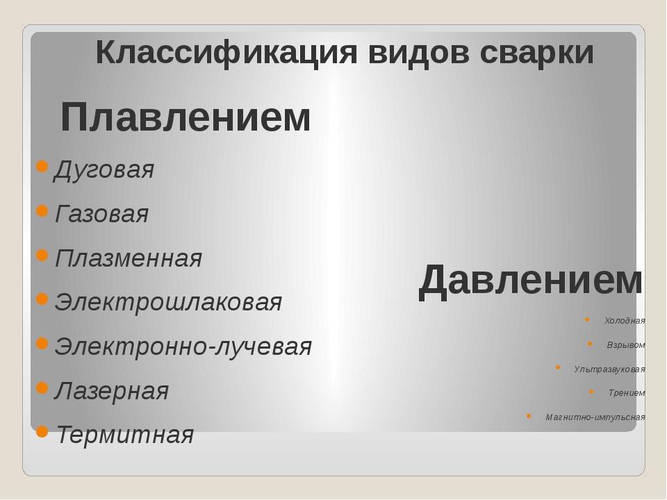 Классификация видов сварки Плавлением Дуговая Газовая Плазменная Электрошлако...