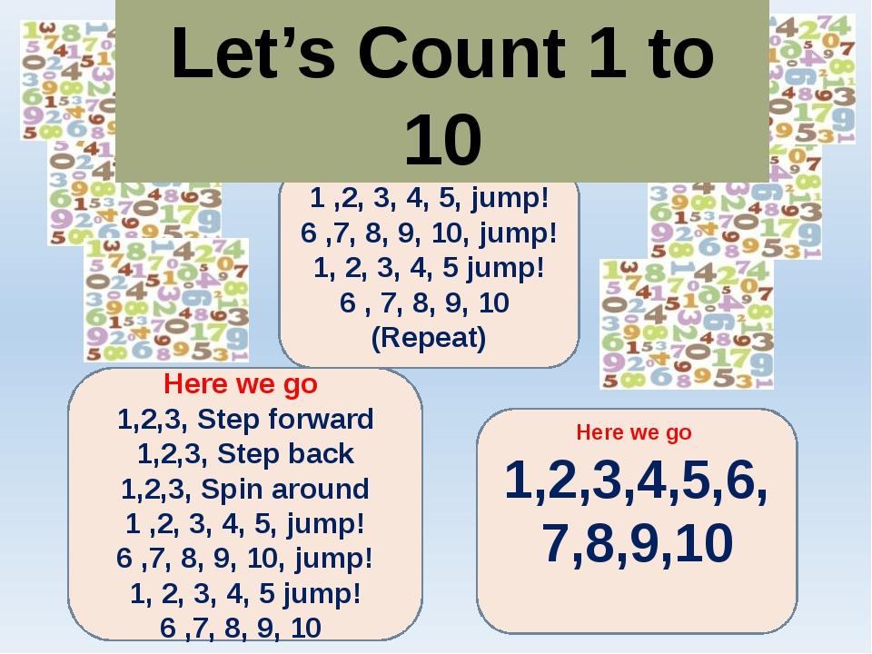 Here we go 1 ,2, 3, 4, 5, jump! 6 ,7, 8, 9, 10, jump! 1, 2, 3, 4, 5 jump! 6 ,...