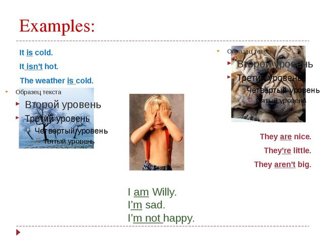 Examples: It is cold. It isn't hot. The weather is cold. They are nice. They'...