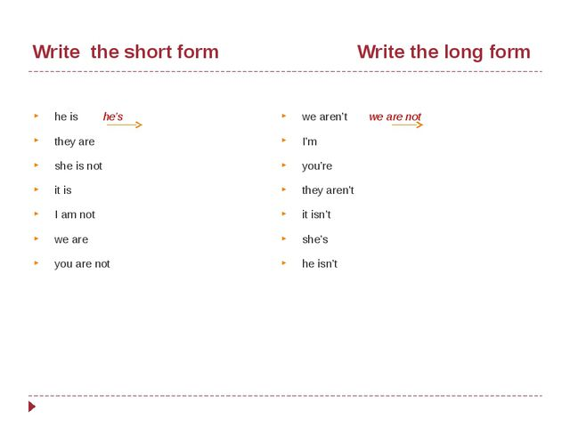 Write the short form Write the long form he is he's they are she is not it i...