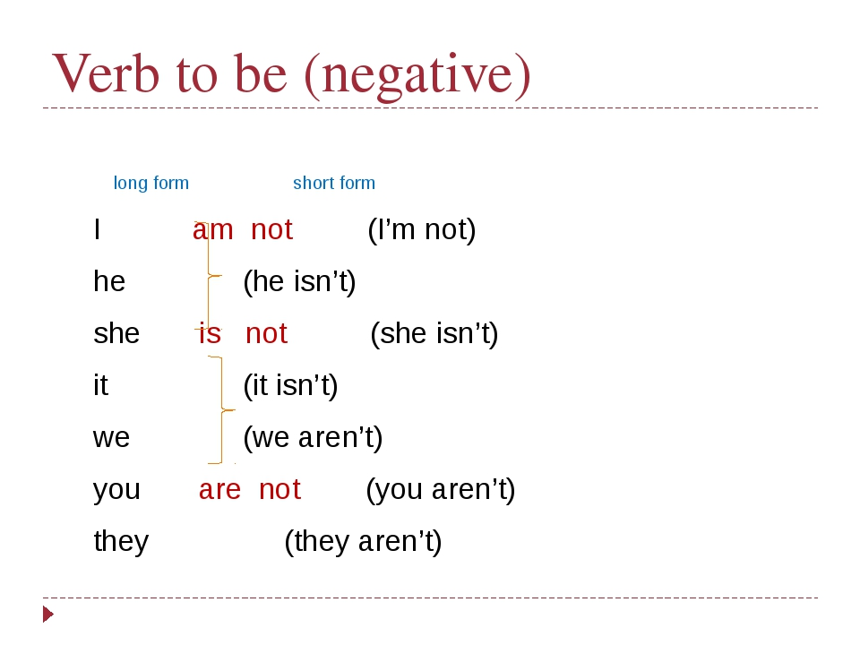Verb to be (negative)   long form short form I am not (I'm not) he (he...