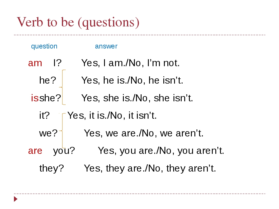 Verb to be (questions)  questionanswer  amI?Yes, I am./No, I'm not....