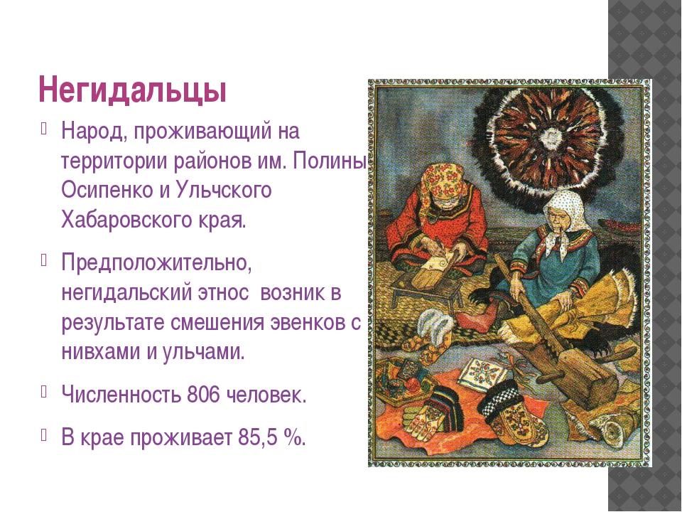 Негидальцы Народ, проживающий на территории районов им. Полины Осипенко и Уль...