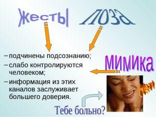 подчинены подсознанию; слабо контролируются человеком; информация из этих