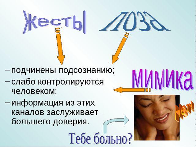 подчинены подсознанию; слабо контролируются человеком; информация из этих...