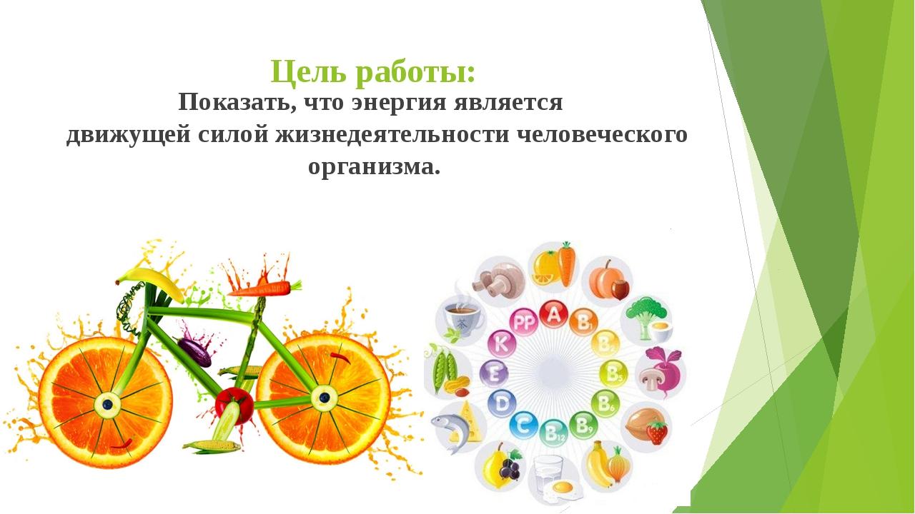 Цель работы: Показать, что энергия является движущей силой жизнедеятельности...