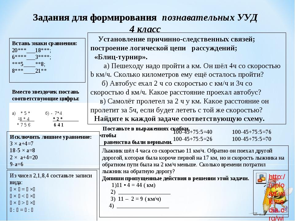 Заданиядля формирования познавательных УУД 4 класс Вставь знаки сравнения:...
