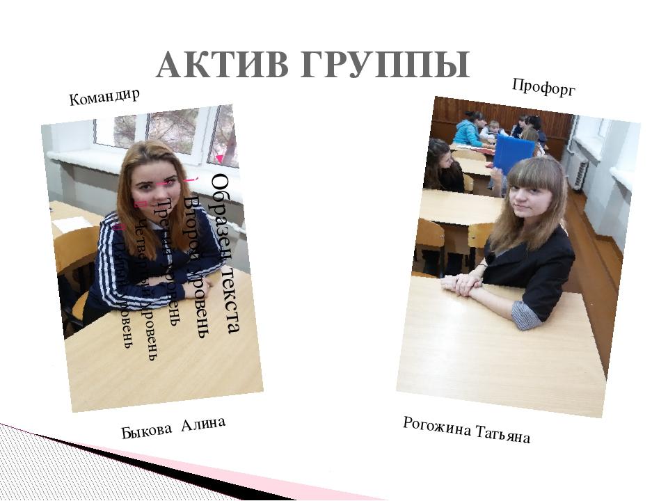 АКТИВ ГРУППЫ Быкова Алина Рогожина Татьяна Командир Профорг