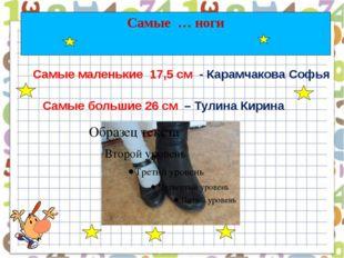 Самые … ноги Самые маленькие 17,5 см - Карамчакова Софья Самые большие 26 см