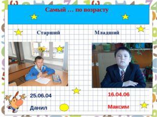 Самый … по возрасту Старший Младший 25.06.04 Данил 16.04.06 Максим